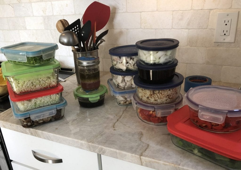 Prepped food in Tupperware on Counter
