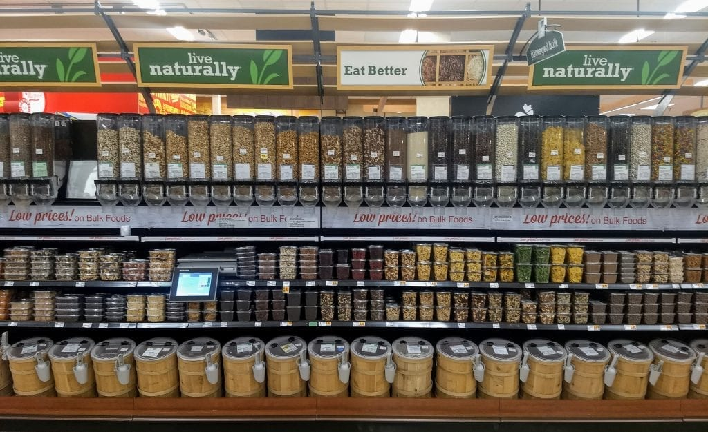 Dry nuts and fruit in grocery isle